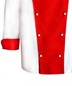 Tunică de bucătar alb-roșu din tercot